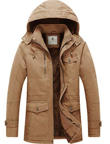 Uoiuxc Men's Winter Coat Warm Thicken Parka Jacket with Detachable Hood (Khaki,Large)