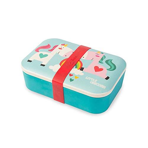 BIOZOYG Bento Lunch Box in bambù per Bambini I Porta Pranzo I Scatola Snack I Scatola Merenda a Motivo - Unicorno per Asilo I Portamerenda Set per Bimbi e Bimbe Senza BPA per Alimenti