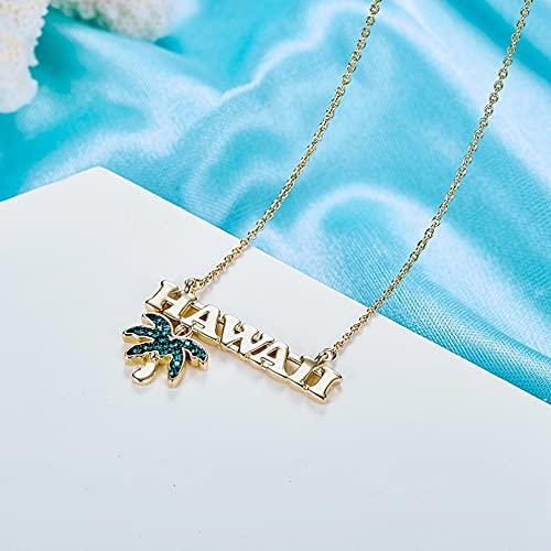QiuYueShangMao Collar Colgante para Mujer, Collar de joyería, Adornado con Cristales de Hawaiian Summer Beach, Collar de árbol de Coco, joyería, Novia, Esposa, Hija, Madre