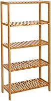 SONGMICS 5-Tier Bamboo Shelf, Shelving Unit, Free Standing Storage Rack, Adjustable, for Plants Shoes, 60 x 26 x 130 cm,...