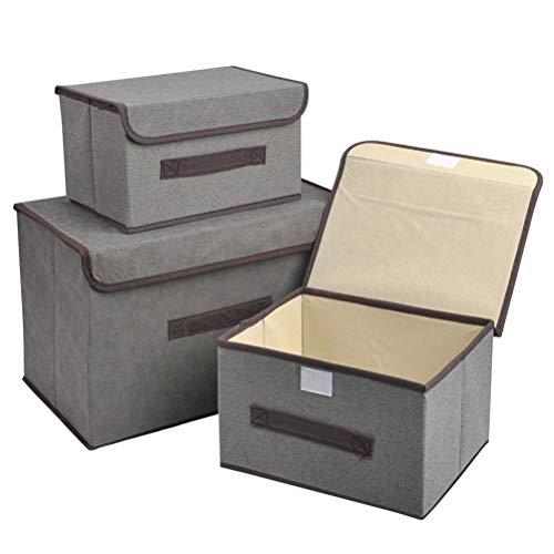 3 piezas de cajas de almacenamiento plegables contenedores de almacenamiento Gris con tapa caja organizadora cestas de almacenamiento de diferentes tamaños con asas para ropa papeleo recuerdos