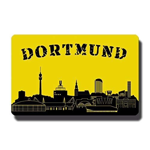 Kühlschrankmagnet Dortmund mit Spruch Stadt Skyline Motiv Deko Magnet Sprüche Geschenk lustig für Fußballer Kühlschrank Magnettafel Schwarz Gelb