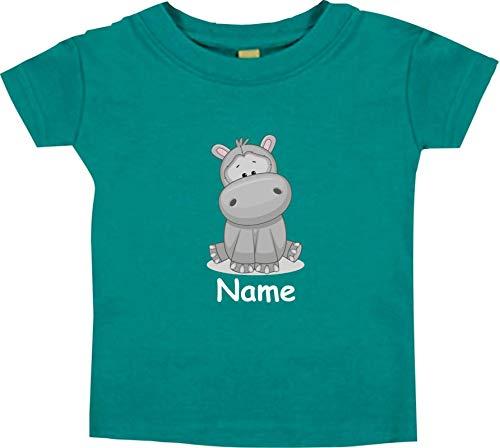 Shirtinstyle Bébé Haut, Hippopotame Animal Motifs Nom Souhaité - Jade, 12-18 Monate