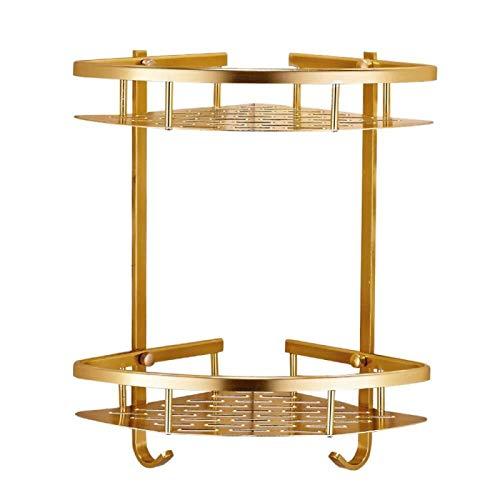 DJY-JY Estante de ducha de esquina a prueba de herrumbre – Canasta de aluminio doble triángulo cesta de red oro estante de baño estante de baño libre de sacador estantes de baño