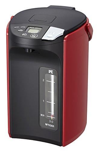Tiger PIP-A300-R Elektrische theepot, 3 l, 700 W, zwart, rood, thermostaat-instellingen, waterniveau-indicator, oververhittingsbeveiliging