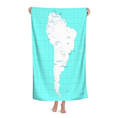 De Gran Tamaño Microfibra Ultra Suave Toalla de Baño Manta Secado Rápido,Colombia Mapa Isométrico América del Sur Paraguay Quito,Toalla de Playa Hoja de Viaje Piscina Cámping Deportes,32