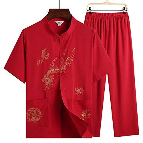 LINFENG Primavera Verano Traje de meditación Zen para Mujeres Traje Tradicional Chino de Tai Chi Ropa de Artes Marciales Ejercicios matinales Ropa de Kung Fu (Color : Red, Size : Large)