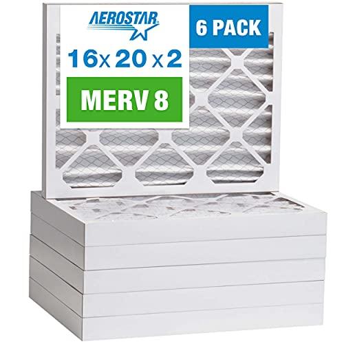 Aerostar 16x20x2 MERV 8 Pleated Air Filter, AC Furnace Air Filter, 6 Pack (Actual Size: 15 1/2'x19 1/2'x1 3/4')