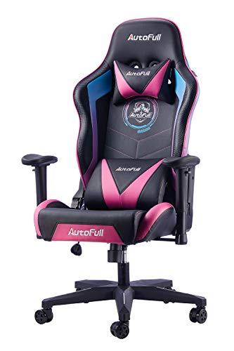 AutoFull Gaming Stuhl Schreibtischstuhl Gamer Ergonomischer Bürostuhl mit hoher Rückenlehne und Lendenwirbelstütze,Einstellbare Sitzhöhe und Rückenlehnenneigung,Rot (DREI Jahre Garantie)