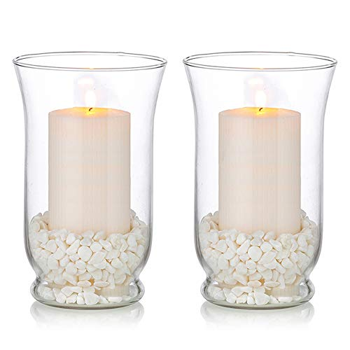 Glass Pillar Candle Holders 2 Pcs Hurricane Candle Holder for Ø 80 x 150mm Candles, Christmas Halloween Centerpieces Storm Vase Wedding Table Centrepiece Dining Room Decor
