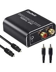 DAC Converter, Techole Aluminium 192 KHz Digitaal/Toslink naar Analoog RCA L/R Audio Converter Adapter met Optische Kabel, Coaxiale Kabel, USB Kabel Aangedreven Voor PS3 PS4 Xbox HDTV Sky HD Apple TV
