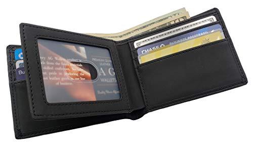 AG Wallets Mens Vegan Leather Bifold Wallet, RFID Protection, Faux Leather Credit Card Holder (Black Center Flap Design)