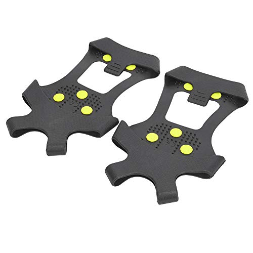 Alomejor Ice Snow Grips Anti Slip Winter Ice Grippers Tacos de Tracción para Nieve Crampones Spikers para Senderismo Pesca (XL:43-45)