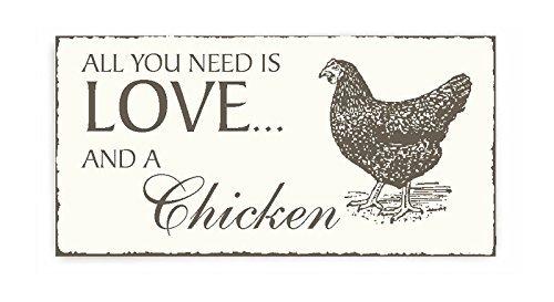 SCHILD All you need is LOVE and a CHICKEN Dekoschild mit Huhn ca. 20 x 10 cm