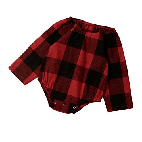Longra Enfant Bébé Fille Garçon Ensemble de Vêtements de Jumpsuit à Carreaux (0-2 ans) (6M, Rouge)