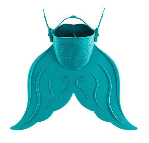 OOLOOYOO Meerjungfrau Schnorchel Flossen, Schwimmen Flossen Reisegröße kurz einstellbar zum Schnorcheln Tauchen Kinder Scuba offene Ferse Schwimmen Flossen,Green