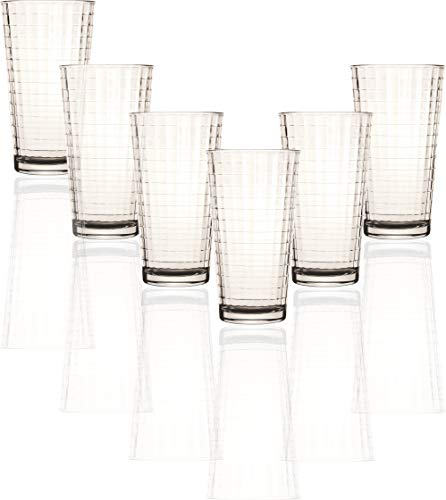 Circleware Matrix Set of 6 Heavy Base Tumbler Cooler Beverage Glasses 1575 oz Drinking Highball Cups for Water Juice Milk Beer Ice Tea Farmhouse Decor Selling Gifts 6pc
