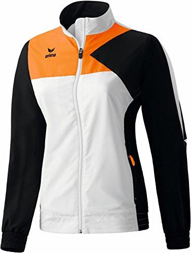 erima Damen Anzug Premium One Präsentationsjacke, Weiß/Schwarz/Neon Orange, 42