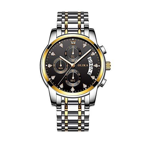 CXJC Reloj deportivo de dial redondo de 41 mm, reloj de negocios multifuncionales a prueba de agua con calendario luminoso, 8 colores disponibles (Color : F)