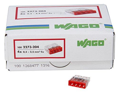 Kopp 33346422 WAGO COMPACT-Verbindungsdosenklemme 4-Leiter-Klemme rot 0,5-2,5 mm² Inhalt 100 Stück, Transparent