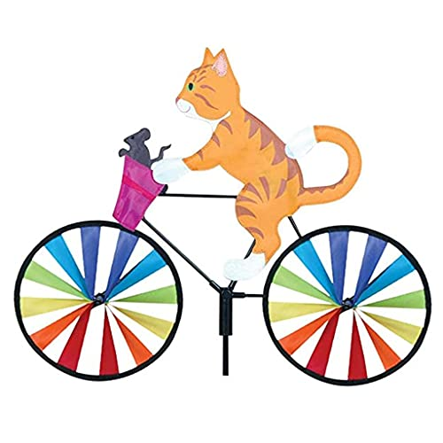 Xuebai 1/3pieces Wind Spinner Animal Dog Cat Bike Windmill Stake Statue for Garden Lawn Yard Decoration Garden Wind Spinner Yellow Cat