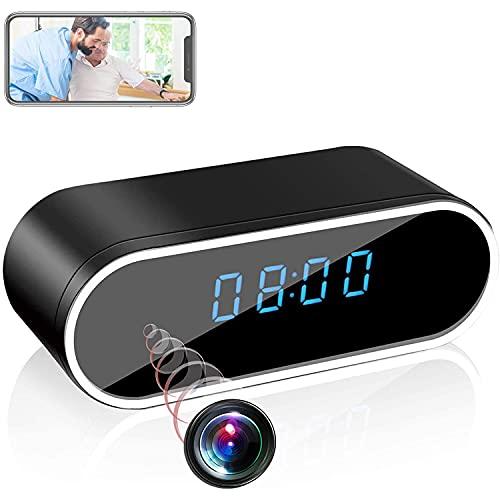 GEQWE Cámara Espía Oculta Reloj Inalámbrico, 1080P HD Niñera WiFi Cámara Oculta para Seguridad En El Hogar Monitor Grabadora De Video Visión Nocturna En Ángulo 140 Detección De Movimiento