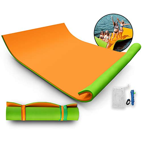 Popsport Floating Water Mat Series Floating Foam Pad Water Recreation and Relaxing in Pool/Beach/Lake Water Floating Mat with DIY Head Pillow for Adults and Kids (Orange&Green, 18X6FT)