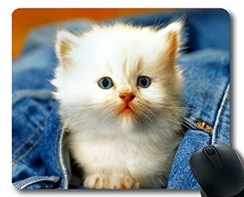 Yanteng Estera del ratón, cojín de ratón Blanco del Gato Animal del Gatito de los Vaqueros, Estera del ratón para la computadora cat100