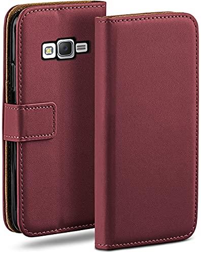 moex Klapphülle kompatibel mit Samsung Galaxy J5 (2015) Hülle klappbar, Handyhülle mit Kartenfach, 360 Grad Flip Hülle, Vegan Leder Handytasche, Weinrot