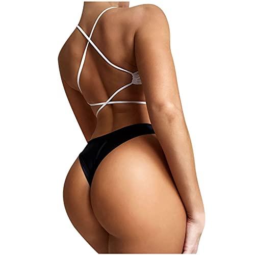 Nuevo 2021 Mujer Bikini Sexy Trajes de Baño Mujer dos piezas Ropa de Playa Color sólido Talle bajo Conjunto de Bikinis Cordón Push up Bikini spa Tankinis Bañador Tres puntos Beachwear Vacaciones