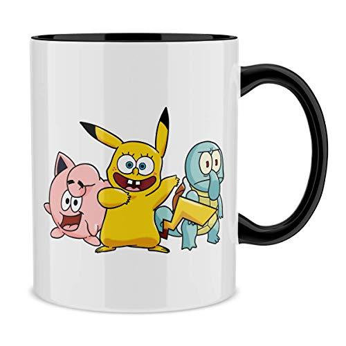 Pokémon - SpongeBob Schwammkopf Lustiges Tasse mit farbigem Henkel und Innenleben (Schwarz) - SpongeBob, Thaddäus Quentin Tentakel, Patrick Star und Pikachu (Pokémon - SpongeBob Schwammkopf Parodie