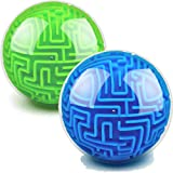 2 Pieces Maze Ball 3D Maze Puzzle Brain Teasers Games Gravity 3D Maze Ball 4 Inches Puzzle Toy Magic Maze Puzzle Cube Ball Sphere Educational Toys for Students Teens Adults, Blue and Green
