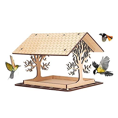 Vogelfutterstation zum Aufhängen für Wildvögel, Vogelhaus Vogelstation Futterhaus Vogelhäuschen Futterhaus Vogelfutterhaus mit regendichtem Dach für Pavillon, Hof und Gartendekoration (C)