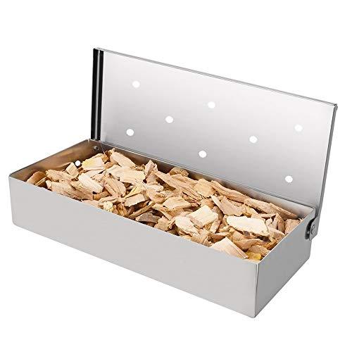 EMAGEREN Räucherbox Edelstahl Smoker Box mit Praktischem Klappdeckel Smokerbox BBQ Grillzubehör Räucherdose Räucherschale Grill für BBQ Kohlegrill- und Gasgrill zum EIN tolles Aroma beim Grillen