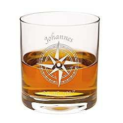 Geschenke 24 Personalisiertes Whiskylas (ohne Karaffe): hochwertiges Glas mit Namensgravur - Whiskygeschenk für Männer und Frauen - passende Whiskykaraffe erhältlich