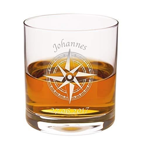 Geschenke 24 Personalisiertes Whiskyglas Kompass (ohne Karaffe): hochwertiges Glas mit Namensgravur - Vatertag, Whiskygeschenk für Männer und Frauen - passende Whiskykaraffe erhältlich