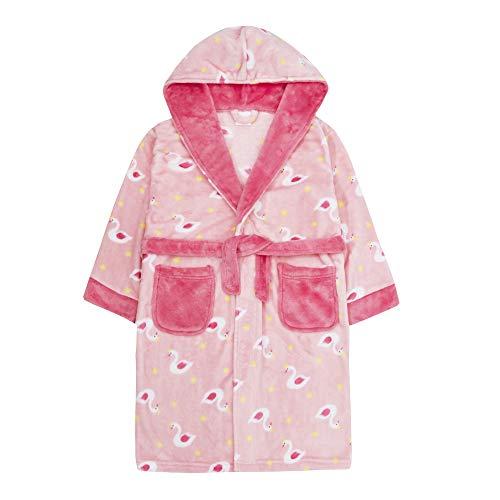 Lora Dora Meisjes Roze Zwaan Robe Print Hooded Fleece Dressing Jurk Kids Zachte Pluche Velours Badjas Housecoat