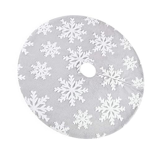 ABOOFAN 120cm Grey Christmas Tree Skirt Snowflakes Tree Skirt Bottom Cover Holiday Xmas Party Ornaments