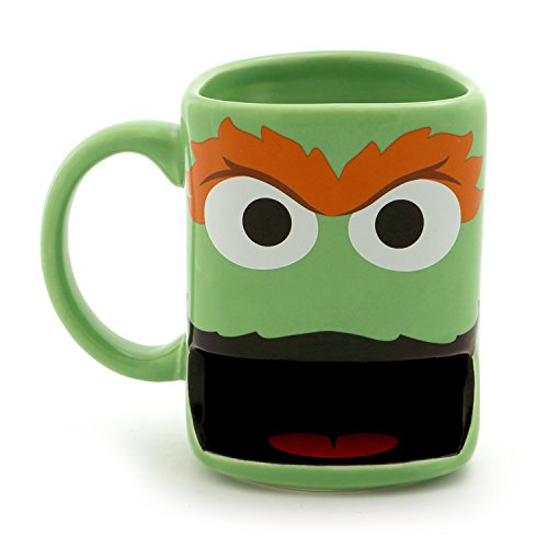 "Enesco Our Name is Mud ""Oscar The Grouch"" Sesame Street Slot Cookie Mug, 10 oz, Green"