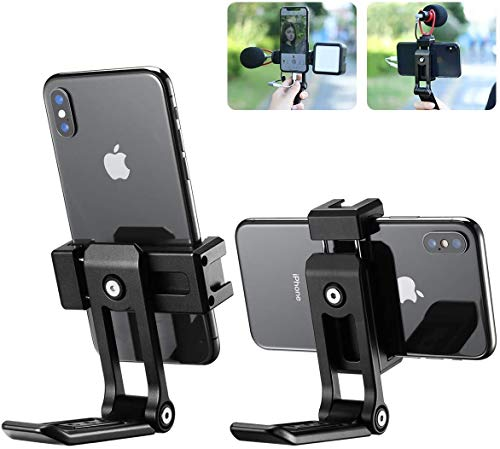 VIJIM Ulanzi Cell Phone Stand, ST-16 Phone Dock: Cradle, Holder, Stand for Office Desk, Compatible with Phone 12 Mini 11 Pro Xs Xs Max Xr X 8 7 6 6s Plus, All Android Smartphones Charging - Black
