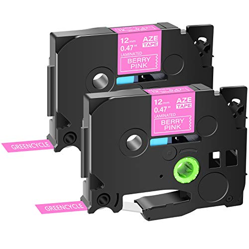 """GREENCYCLE Compatible for Brother TZe-MQP35 TZe MQP35 AZEMQP35 12mm Standard Laminated Label Tape White on Berry Pink 1/2"""" 0.47 inch x 5m Used in P-Touch PT-D210 PT-D400 PT-H110 PT-D200, 2 Pack"""