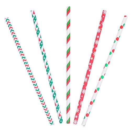 Hemoton 125Pcs Cannucce di Natale Cannucce Biodegradabili Cannucce Rosse E Verdi con Albero di Natale Stella Fiocco di Neve Regalo Stampelle Modello per Le Vacanze Natale Forniture per