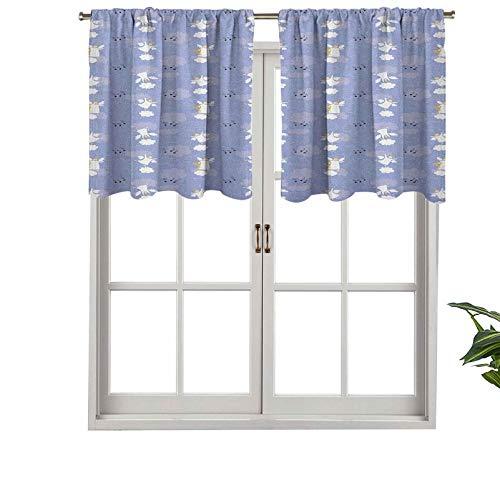 Cenefa de cortina con bolsillo para barra, diseño de ángeles que juegan arpa en nubes del cielo mágico amor halo armonía, juego de 2, tratamiento de ventana de 137 x 61 cm para sala de estar