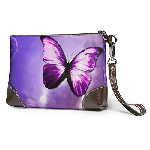 Ahdyr Purple Butterflies Art Leather Wristlet Clutch Bag Zipper Handbags Purses For Women Phone Wallets With Strap Card Slots