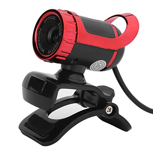 Heayzoki Cámara Web HD 1080P con micrófono, cámara de computadora Web USB, cámara Digital de Enfoque Manual Plug and Play con Clip Giratorio para Zoom, Skype, Equipos de enseñanza en línea(Rojo)