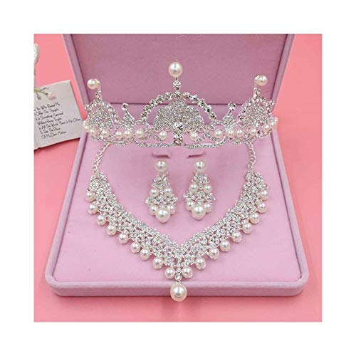 AdorabFruit Conjuntos de Novia Pendientes Corona Conjunto Compromiso de la Boda Collar La joyería de joyería de Las Mujeres de Pelo Tiaras (Metal Color : 3PCS Set)