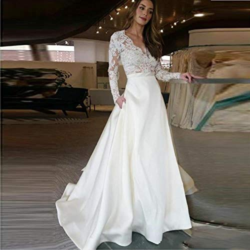 KUANGQIANWEI Hochzeitskleid aus Spitze Vestido De Novia De Manga Larga Con Cuello En Vy Encaje De Novia Con Apliques De Satén, Vestido De Novia De Bolsillo Personalizado hochzeitskleid in weiß