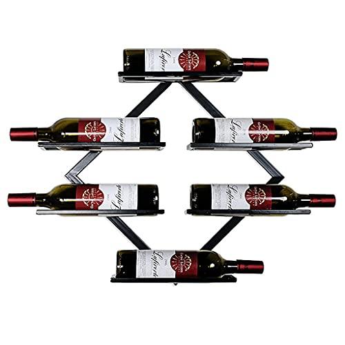 LSNLNN Estantes de Vino, Estante de Vino Montado en la Pared Holders de Vino de Hierro Forjado Diamond Wine Storage Hold 6 Botellas para Sala de Estar, Restaurantes, Bares,Negro