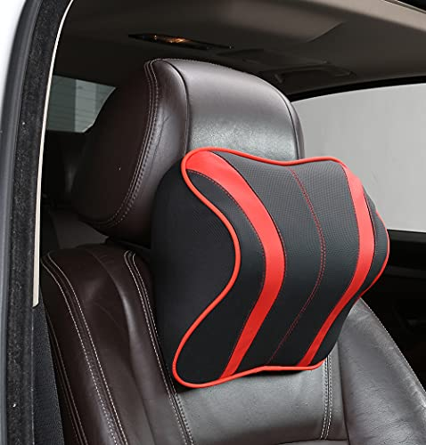 ROER Seatbelt Pillow and Car Headrest Pillows with Ergonomic Design,Car Seat Neck Pillow with Leather Memory Foam,Car Neck Pillow for Relieving Neck Fatigue and Support Cervical– Red&Black
