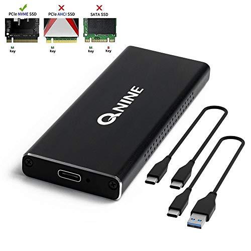 QNINE NVME Gehäuse [Aktualisierte Version], inklusive 2 USB Kabeln, passend für Samsung 960 970 EVO PRO WD Schwarz NVME SSD